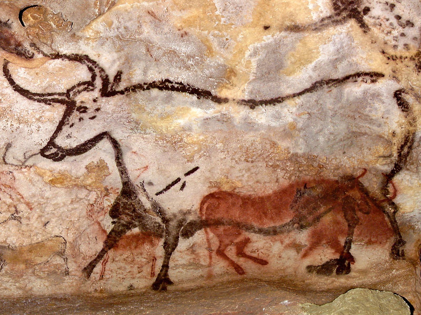 Figura 1. Detalhe do teto: touro e cavalos, Caverna de Lascaux