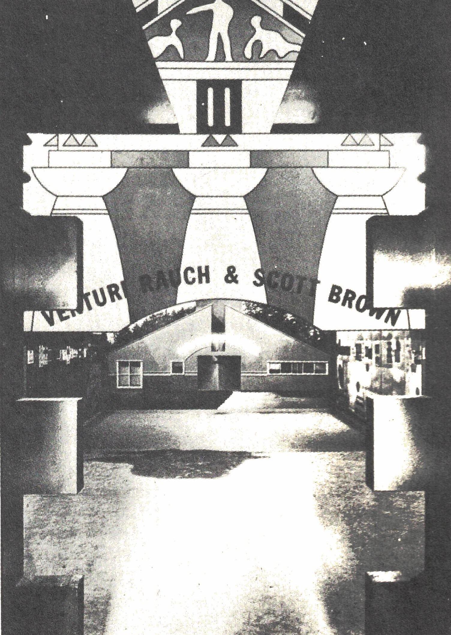 Figura 3. Robert Venturi, Vista da fachada na Strada Novissima, de dentro do estande de Robert Stern, ao fundo maquete da Resistência de Chestnut Hill