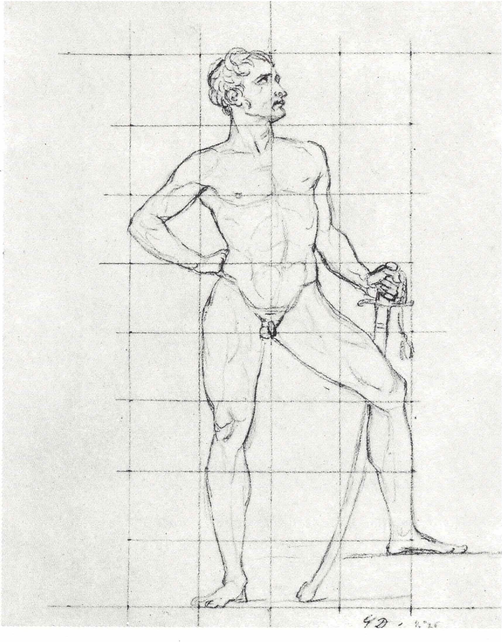 Figura 6 - Jacques-Louis David, desenho preparatório para A distribuição das águias
